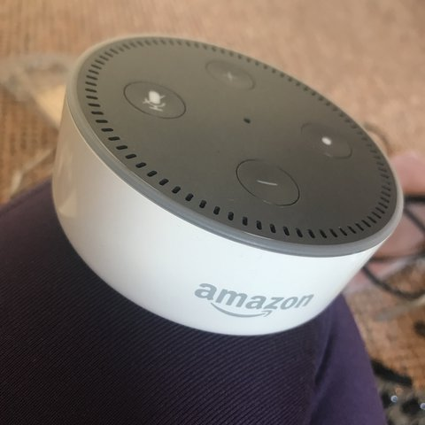 9c7adefb8 Amazon echo dot white alexa rarely used. Comes with the new. - Depop