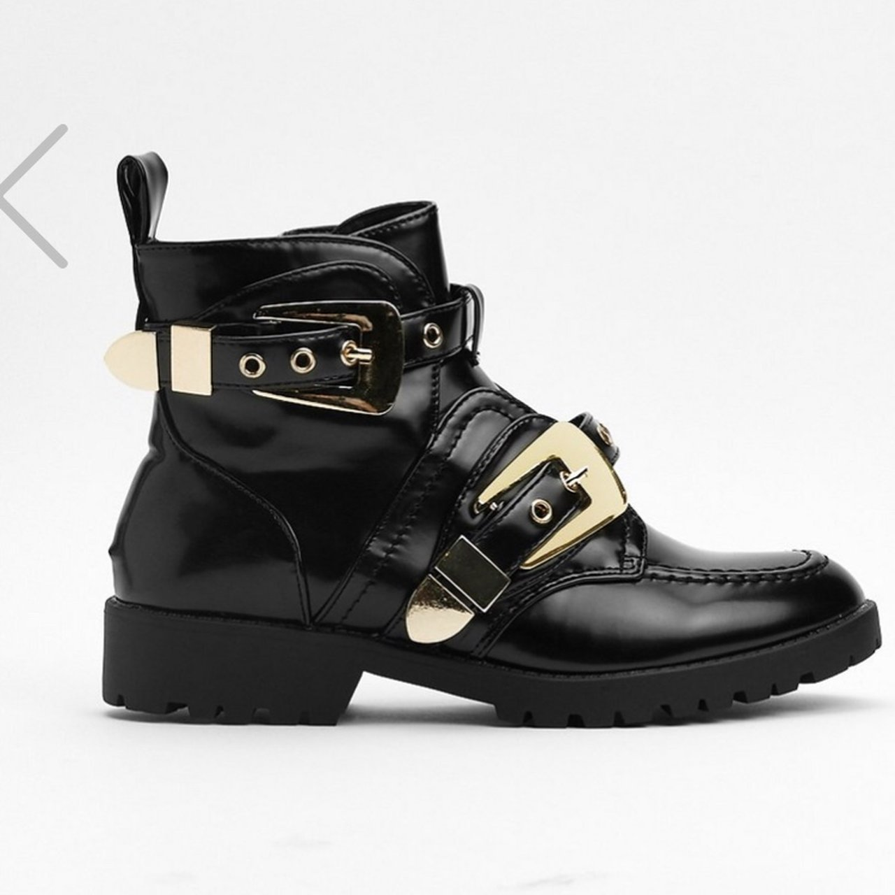 5b31ae98fda3 Black Leather Patent Ankle Boots Double gold buckle has - Depop