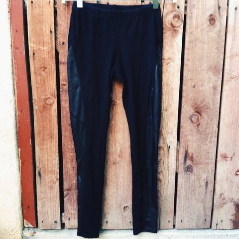14a8007ee8e455 Basic black leggings with outer faux leather detailing. Cute - Depop