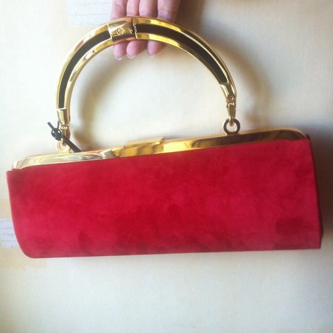1496cd6b547 @victoriastyling. 3 years ago. London, UK. Lovely scarlet suede red  baguette clutch bag by Balmain x H&M ...