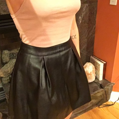 5f836eb1caedcd @stephaniehatesyou. 2 years ago. Watchung, NJ, USA. Forever 21 faux leather  skater skirt.
