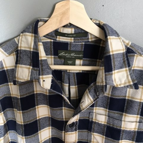 d16a49608d59 Mens Relaxed Fit Eddie Bauer Flannel Plaid Checks L. is with - Depop