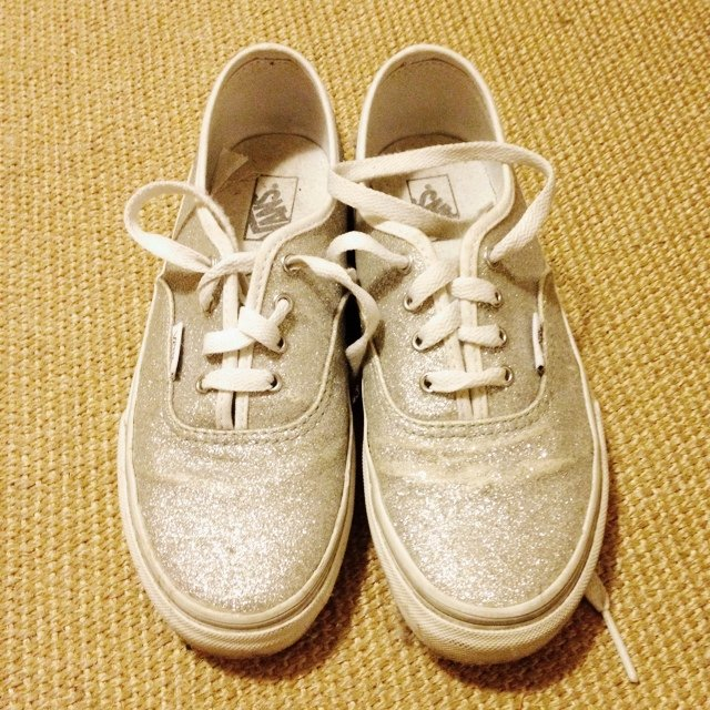 911b5bbae207d9 Vans with silver glitters. Runs bigger they would fit UK - Depop