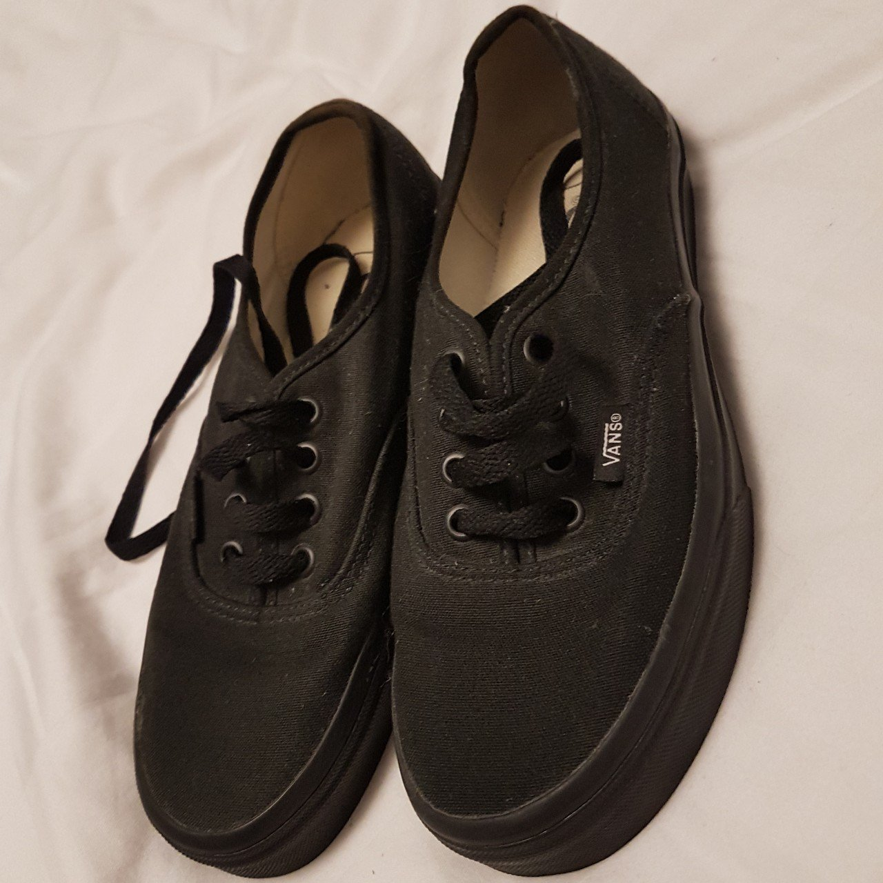 Black Vans authentic classic mono lace up trainers. Worn a a - Depop 449ade415037