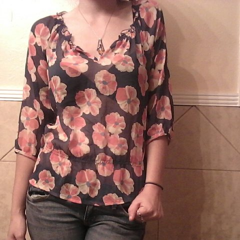 c2aca668de5c6 For sale is a sheer floral print Old Navy shirt. sleeved