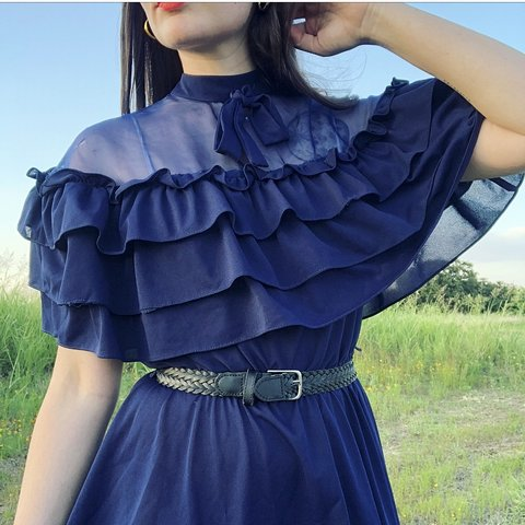 e2353489f7ca VINTAGE 70 s NAVY RUFFLE MIDI! Very light and perfect for a - Depop