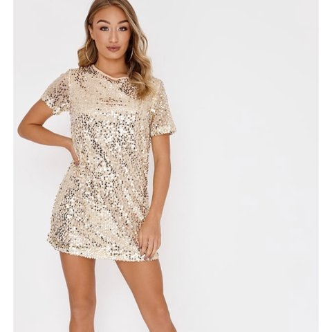 95dc1632f6a MADELINE GOLD SEQUIN T SHIRT DRESS -  INTHESTYLE RRP £32.99 - Depop