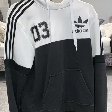 f09c6b557 @issydoughty27. 3 months ago. Nottingham, United Kingdom. Adidas black and white  sweatshirt hoodie. Men's size small would fit women's 8-12.