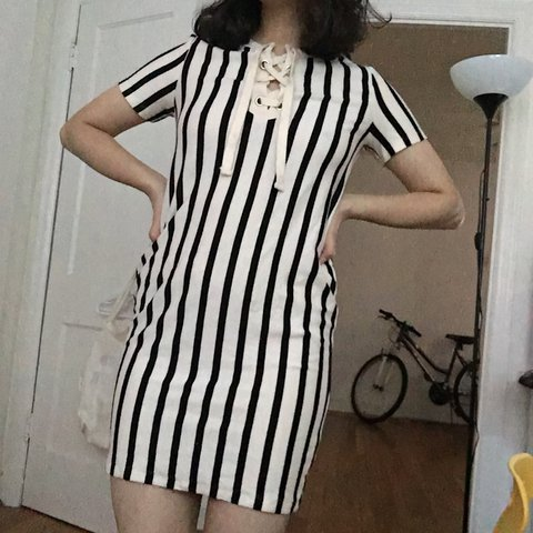 b77899526c @ayeshasyed. last year. Philadelphia, United States. Vertical Striped ZARA  dress with tie up ...