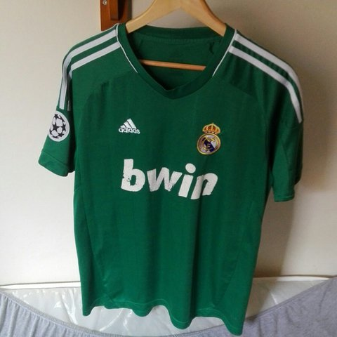 be91b343b Real Madrid FC third kit strip jersey This green football - - Depop