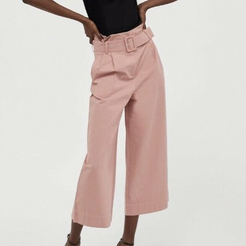 d1316779 @hwinbolt. 8 days ago. London, United Kingdom. Zara pink culotte trousers  with belt detail. Size Small.