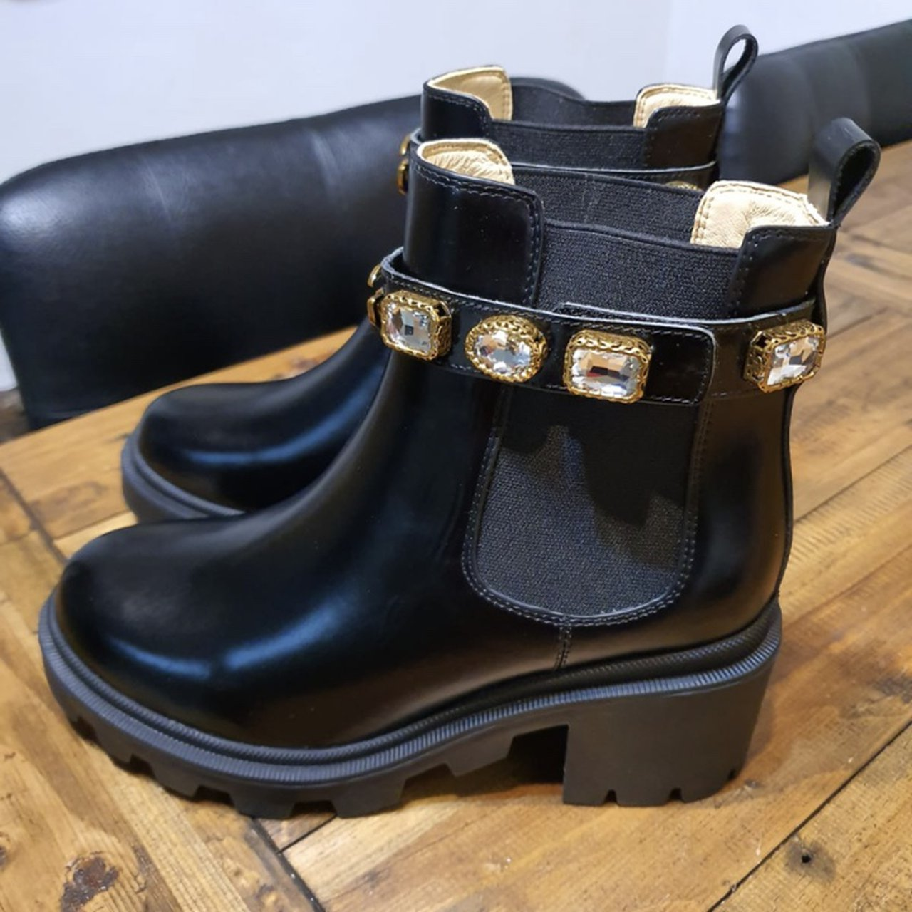 Gucci snake boots black leather women's