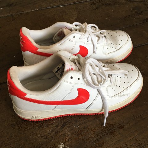 White Leather Nike Air Force 1 with red
