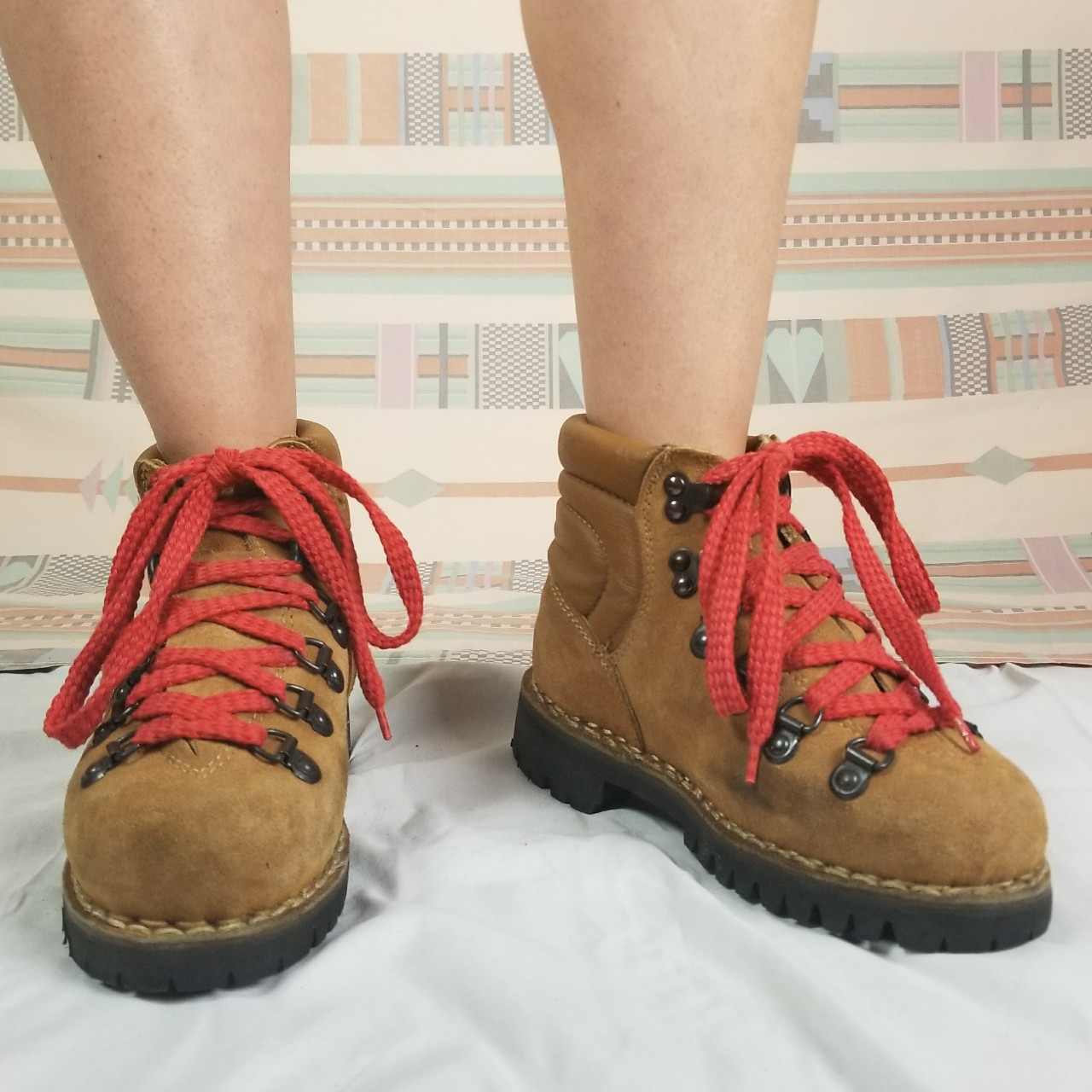 Vintage suede leather hiking boots with