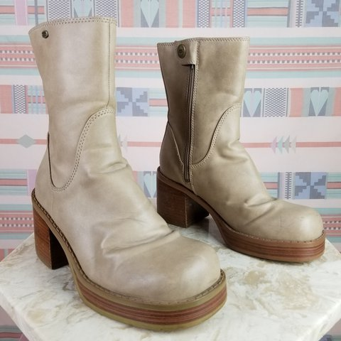 3fae4fa5807ae @annamaeyonce. last year. Boulder, Boulder County, United States. Vintage  90s platform boots. Beige or taupe vegan leather chunky heeled Skechers ...