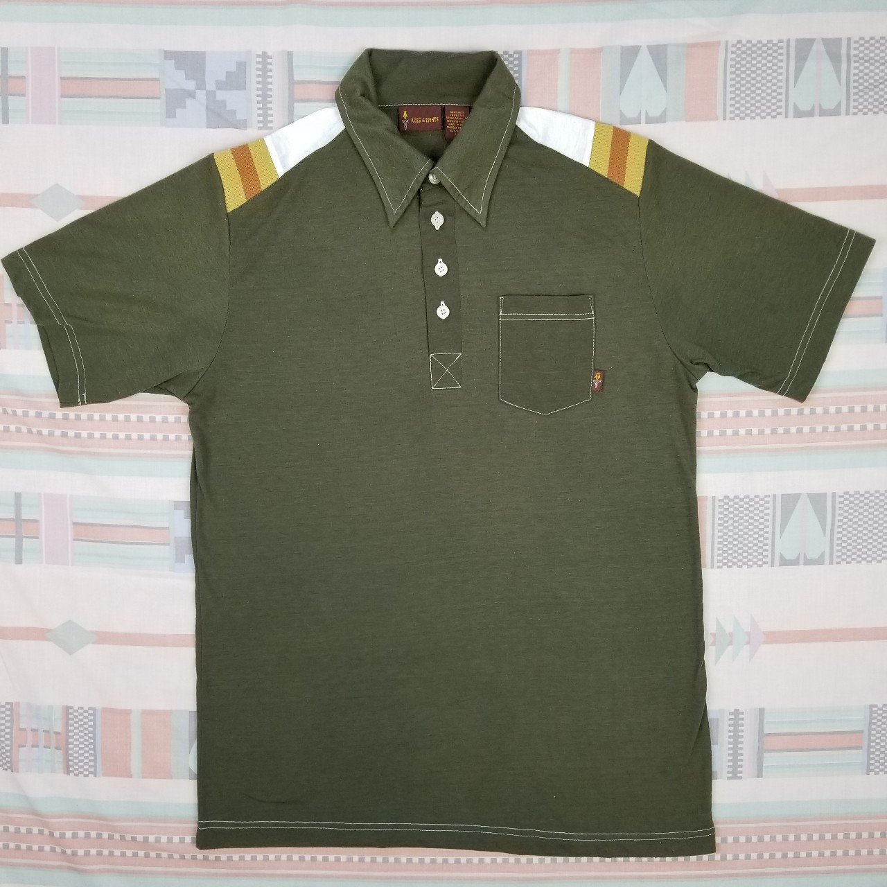 Vintage 90s Does 70s Polo Style T Shirt Olive Green Shirt A Depop
