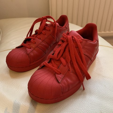 bb1c18bb1 Red Adidas Superstars Pharrell Williams trainers Hardly In - Depop