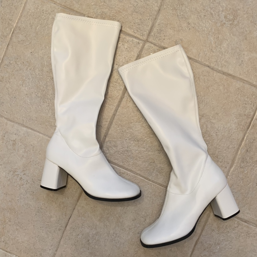 2cac46b454a White vegan faux leather rubbery material gogo... - Depop
