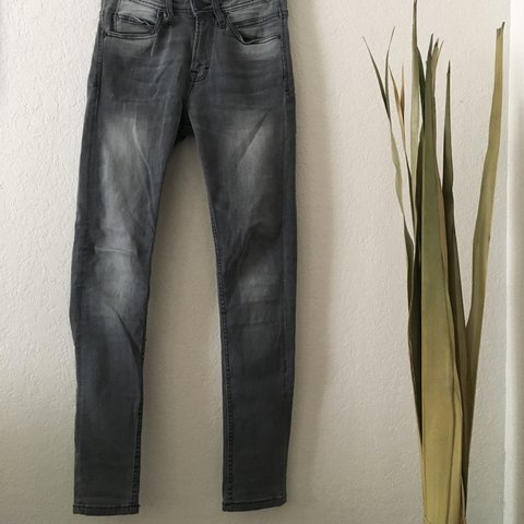 e7a093a0 zara man gray skinny tapered jeans. very tight fit with a 29 - Depop