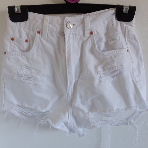 62e483ca13 @adlancaster. last year. Coulsdon, United Kingdom. White Ripped Mom TopShop  Denim shorts. Size 6 Womens