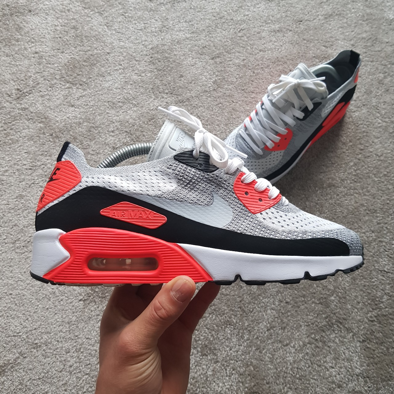 sports shoes fe7c4 25627 Nike Air Max 90 Flyknit - Infrared OG - UK 7 Worn a... - Depop