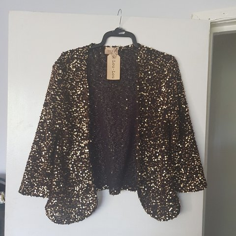 Sequin £45 Size Depop Lou New With Tags Rrp gold Cardigan Ml fqnBOS
