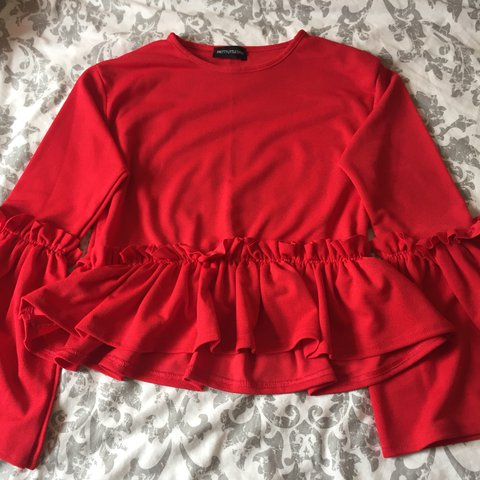 3742d327d97c9c Pretty Little Thing red frill top with bell sleeves. Worn so - Depop