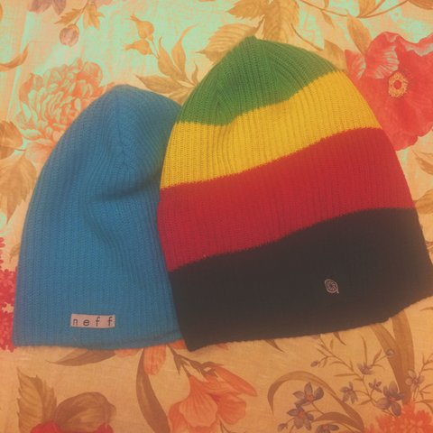 ccc38e80 Beanies from Zumiez! Light blue and Rasta! Individual prices - Depop