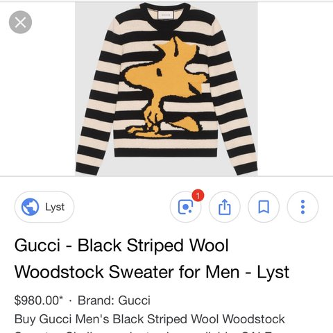 3676357a Gucci x peanuts woodstock sweater don't even remember what a - Depop