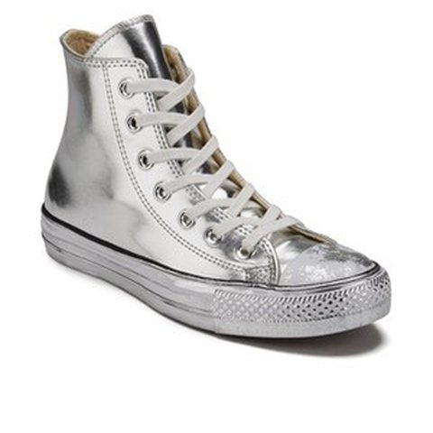 610ac6a2f910 Women s Converse Chuck Taylor All Star chrome silver leather - Depop