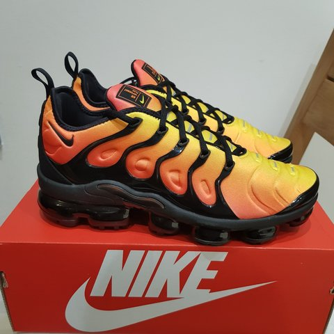 a6853cf07fa9a Nike Air VaporMax Plus Sunset Footlocker Exclusive Size  UK - Depop