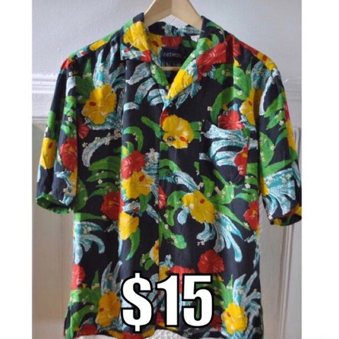 efc85684 WAS $22 - Bright Colored Hawaiian Shirt - amazing Hawaiian a - Depop