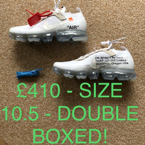 d1988be5c52 NIKE X OFF WHITE VAPORMAX SIZE UK 10.5 US 11.5. WITH BLUE - Depop