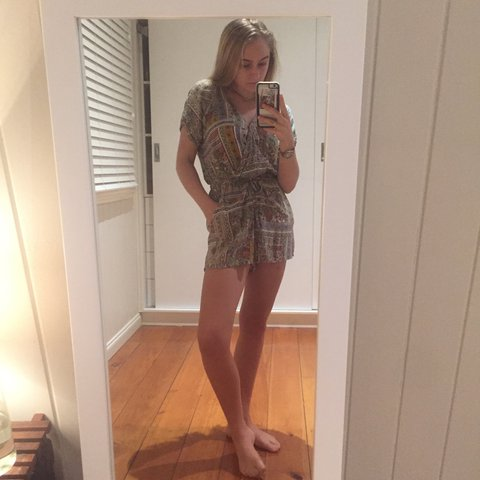 6bd7a200c761 Gorgeous boho retro pattern playsuit romper with pockets