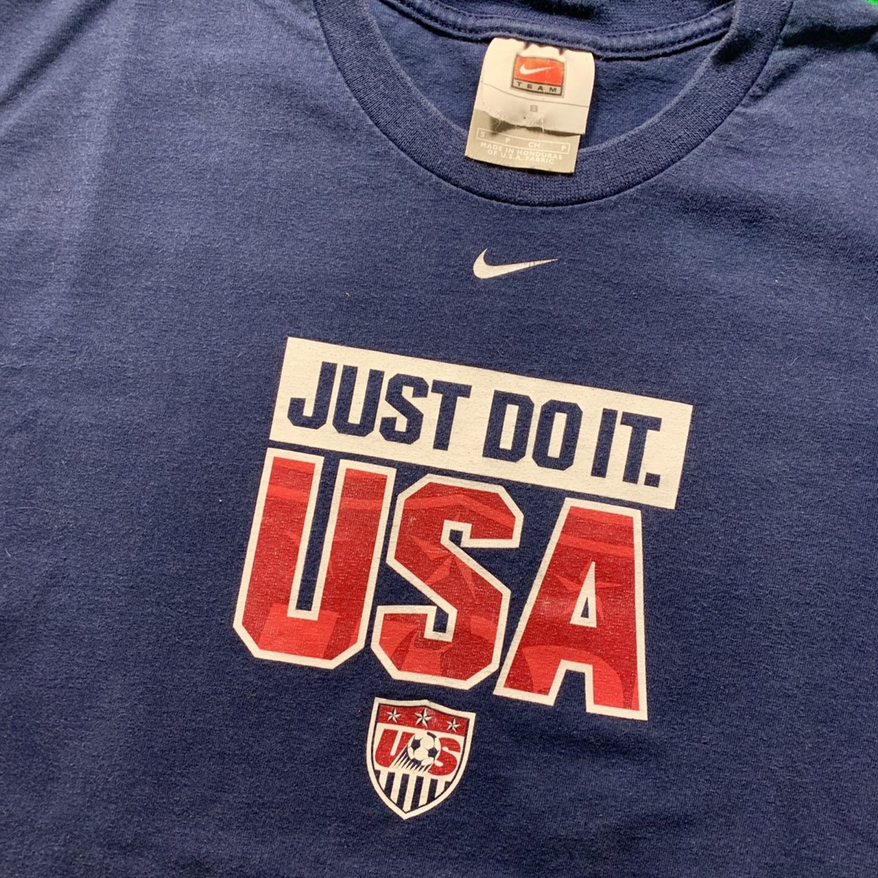 fe05bf3da Vintage Nike US Mens Soccer t-shirt! Just Do It. Navy faded. - Depop