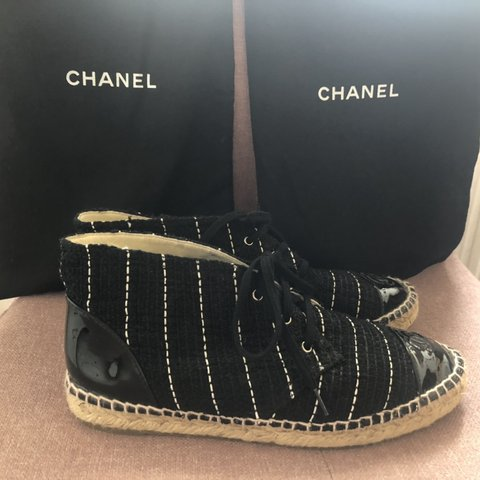 a34e05fa6 Genuine Chanel High Top Espadrilles 15S in Black with White - Depop