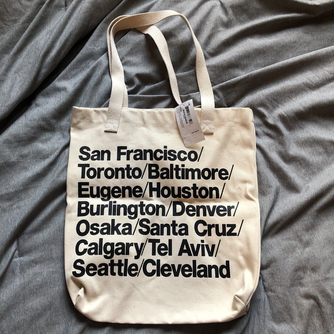 7654295b33c @l1lidk. 10 months ago. New York, United States. American Apparel cities  tote bag
