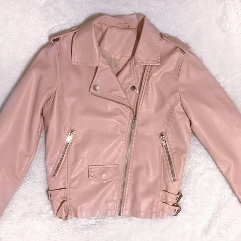 6ec3c285f9fb Baby pink faux leather jacket  pink  leather  jacket  fall - Depop