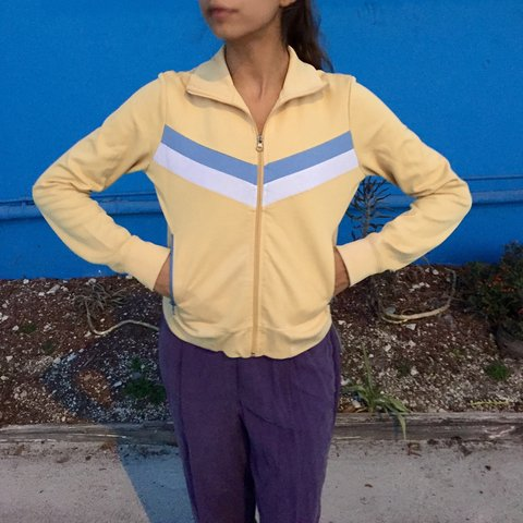 5d03cbc35 cutessstttt pastel yellow track jacket! 😱😍 some of the on - Depop