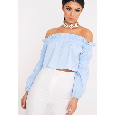 bc5cbb2630dfc Pretty Little Thing baby blue bardot crop top