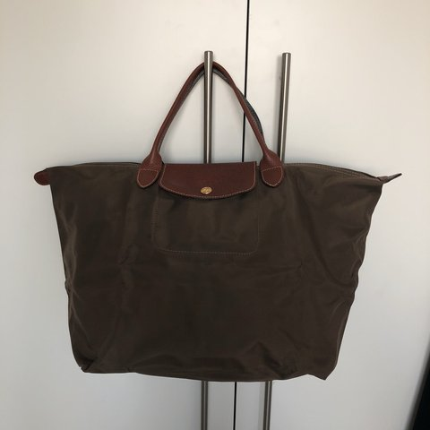 45a49a122953 Longchamp Le Pliage top handle M bag in khaki. Used less 10 - Depop