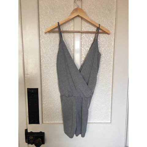 Grey plunge playsuit size 8 but would also fit size 6🌸 worn - Depop 8126c6b4e