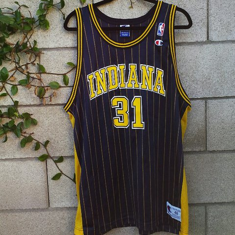 the best attitude 0750e a9ae4 Vintage Champion Indiana Pacers Reggie Miller Jersey... - Depop