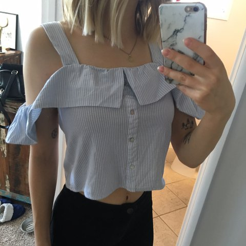 054383d6 Zara blue and white striped off the shoulder top - buttons a - Depop