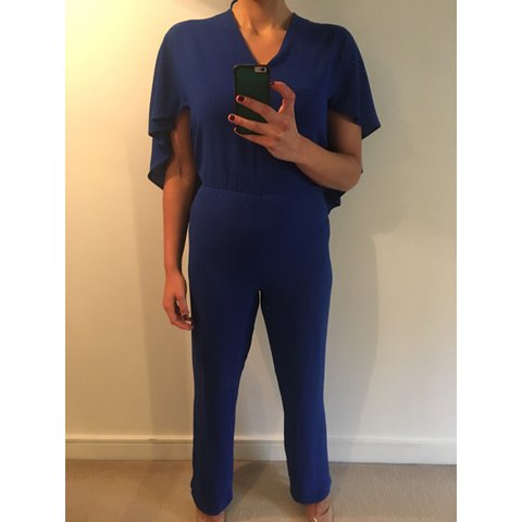 1c7b104aace1 ZARA CAPE JUMPSUIT IN ROYAL BLUE. Be honest. The party is a - Depop