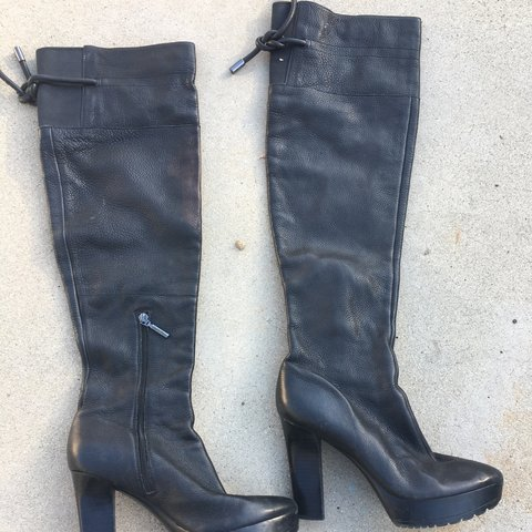 89410b1c1a0 Calvin Klein thigh black leather boots 8m. Great condition . - Depop