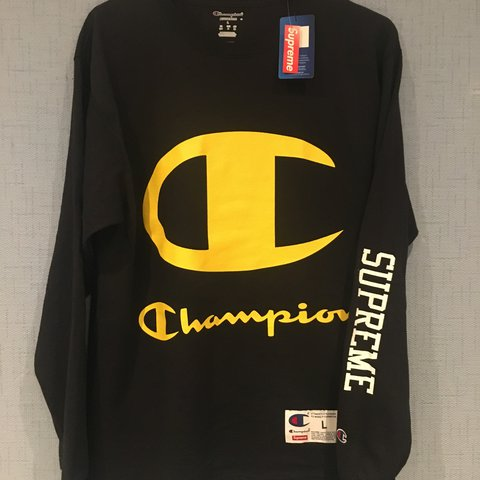 c5781398bd72 Supreme x champion long sleeve l/s in the black and yellow I - Depop