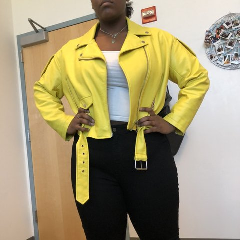 fd387699 @jamyah_xoxo. last month. Chicago, United States. Yellow faux leather Moto  jacket from Zara. Worn a handful ...