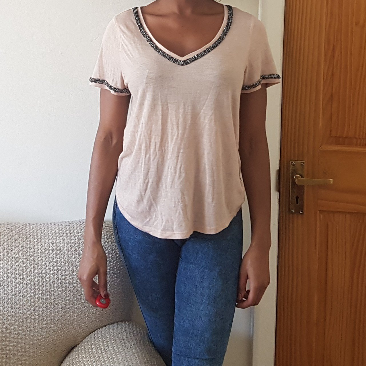 SALE!! Lovely Nude Embellished V-Neck Top. SIZE 8 - Light - - Depop 88ac89965