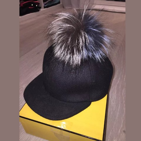 990e28fd106 Fendi Wool Baseball Fur Pom Cap It has a real fox fur Pom - Depop